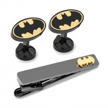 Batman Black and Gold Cufflinks and Tie Clip Gift Set