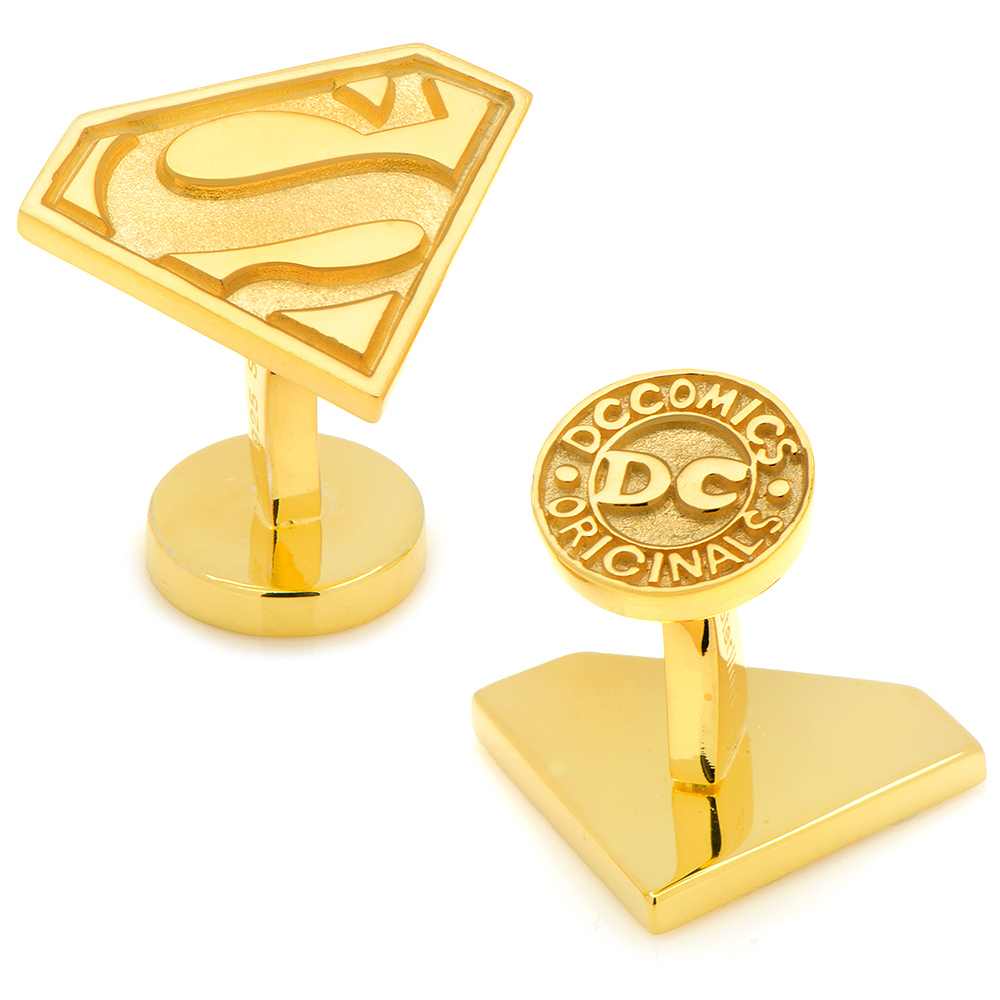 Gold Plated Sterling Superman Cufflinks