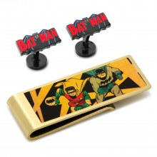 Vintage Batman Comics Cufflinks and Money Clip Gift Set