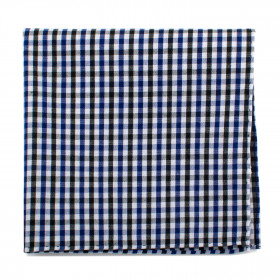 Black and Blue Gingham Cotton Pocket Square