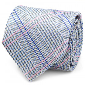 Blue and Pink Glen Plaid Silk Tie