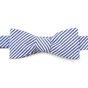 Blue Striped Cotton Bow Tie
