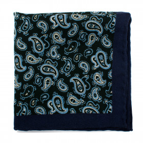 Green and Blue Paisley Wool Pocket Square