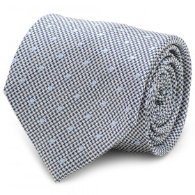 Dotted Herringbone Grey Silk Tie