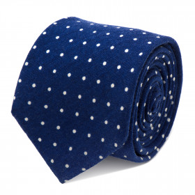 Navy and White Polka Dot Wool Tie