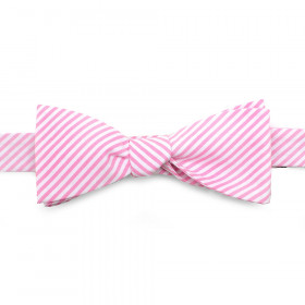 Pink Striped Cotton Bow Tie