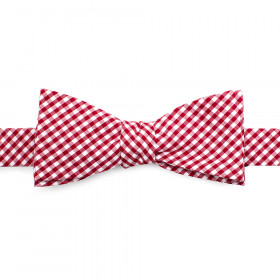 Red Gingham Cotton Bow Tie