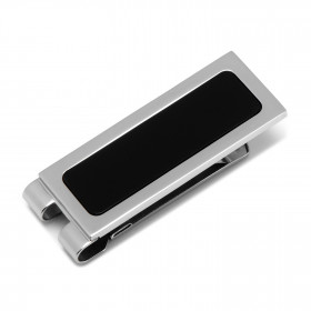 Stainless Steel Onyx Inlaid Money Clip