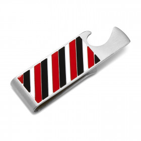 Varsity Stripes Black Red and White Bottle Opener Money Clip