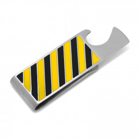 Varsity Stripes Blue and Yellow Bottle Opener Money Clip