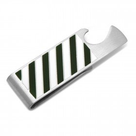 Varsity Stripes Green and White Bottle Opener Money Clip