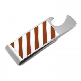 Varsity Stripes Orange and White Bottle Opener Money Clip