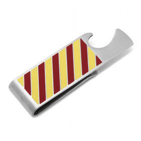Varsity Stripes Garnet and Gold Bottle Opener Money Clip