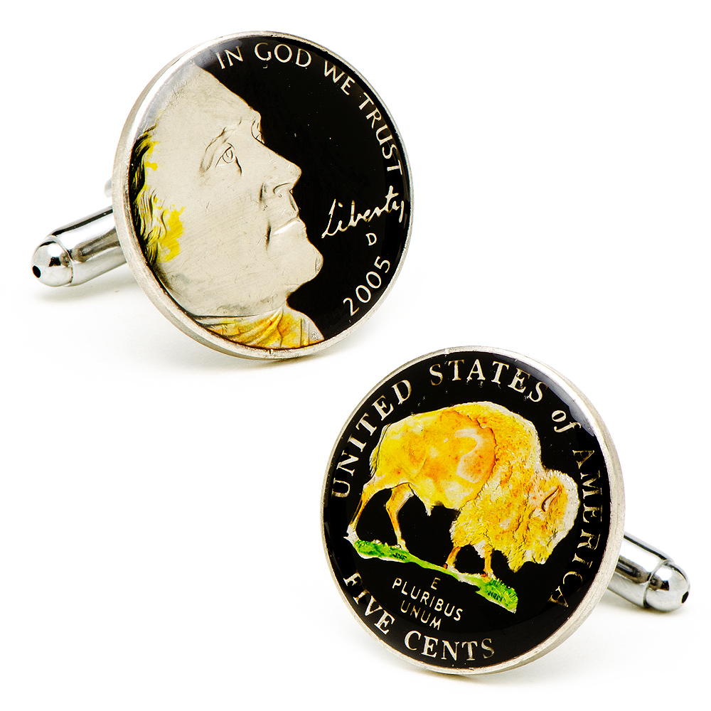 Hand Painted Black Buffalo Nickel Cufflinks