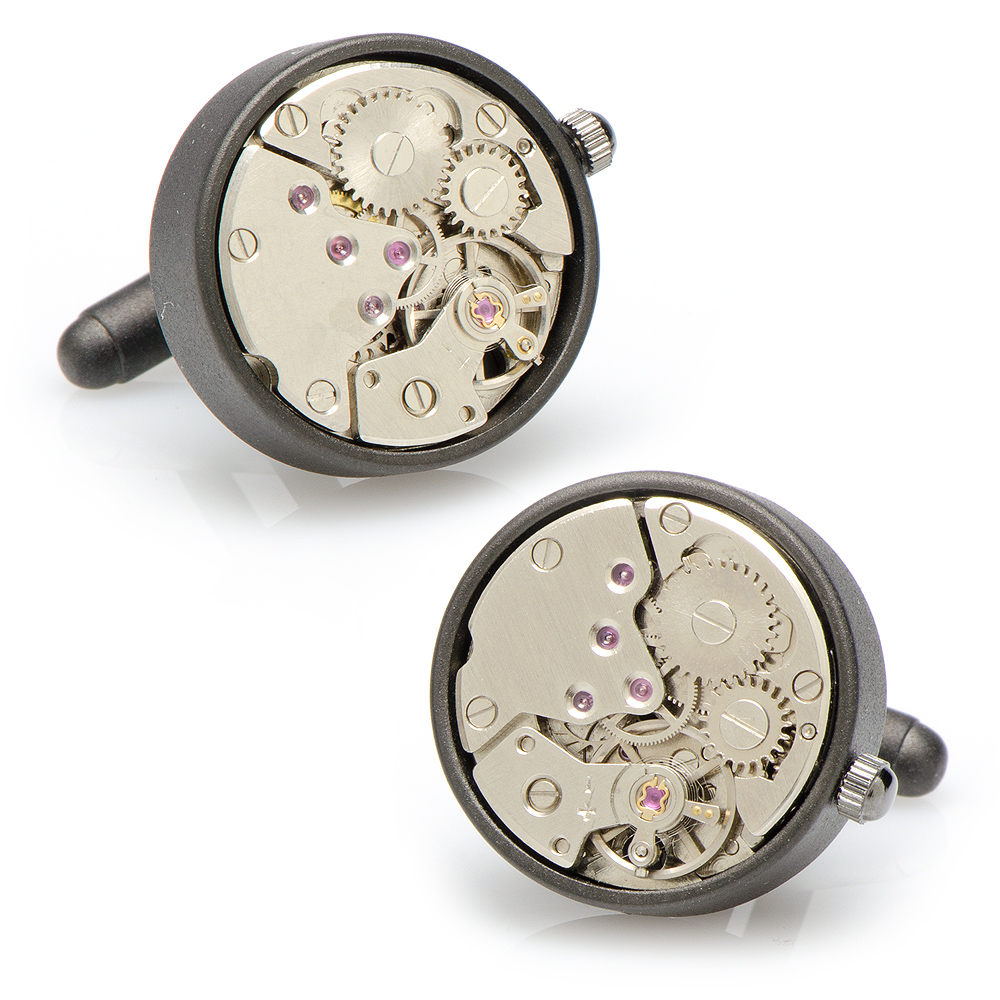 Round 20mm Matte Black Watch Movement Cufflinks
