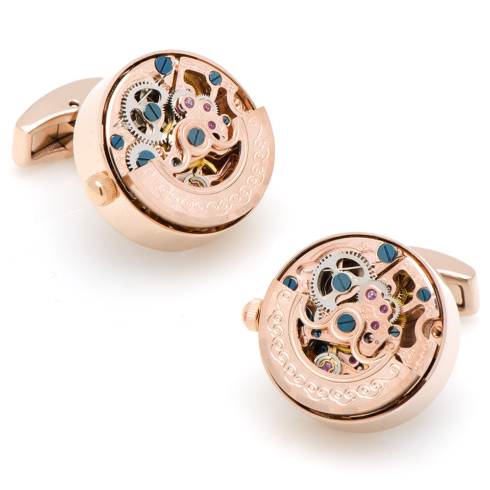 Rose Gold Kinetic Watch Movement Cufflinks