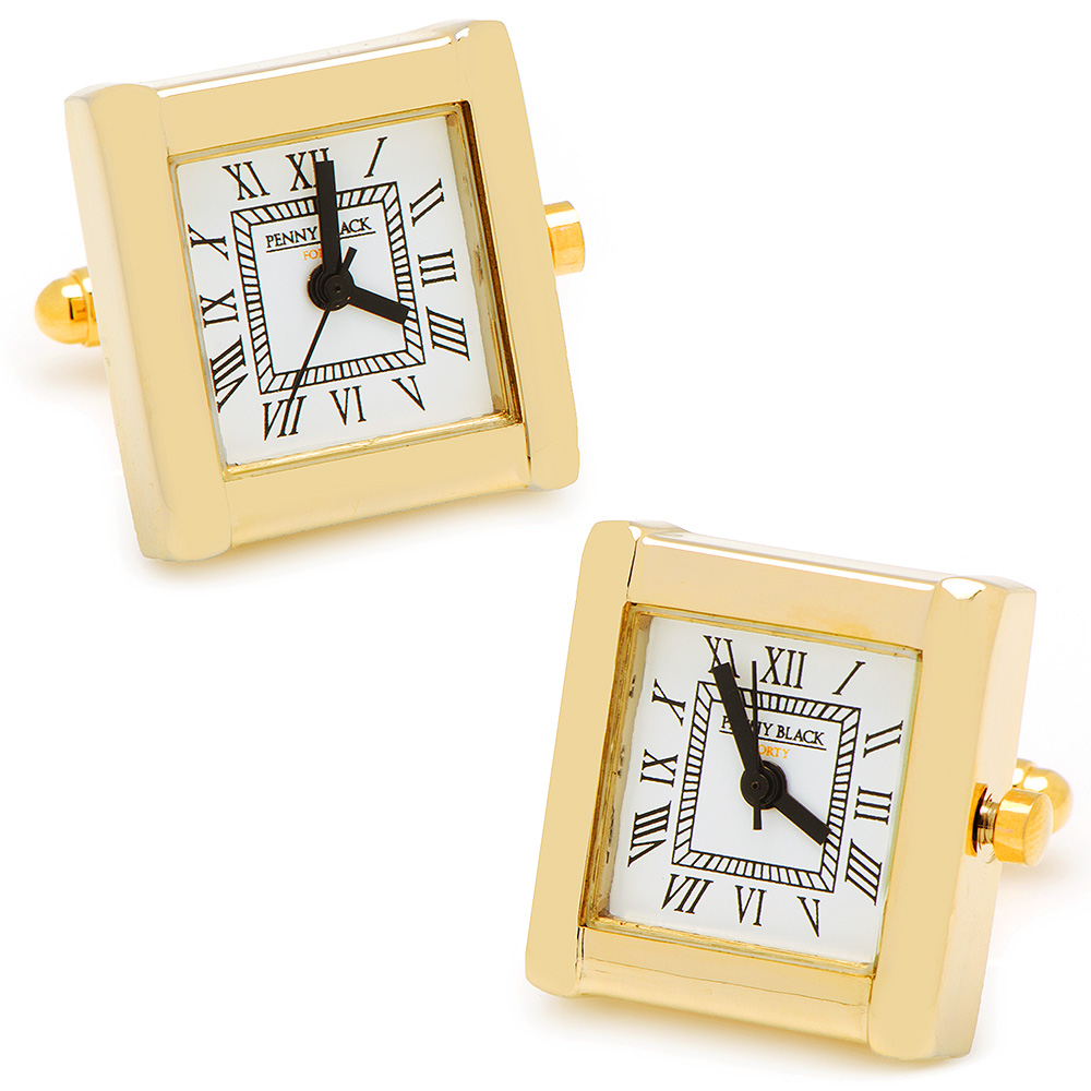 Gold Stainless Steel Square Watch Cufflinks
