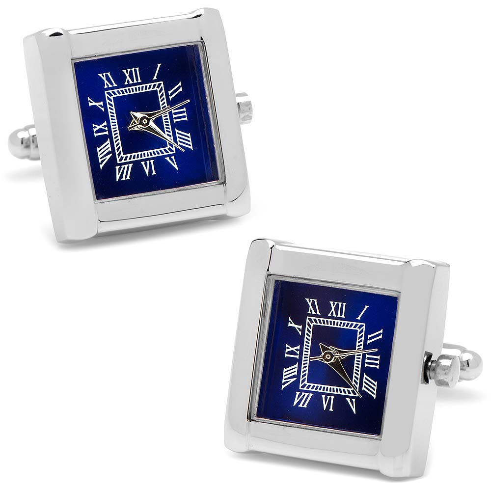 Stainless Steel Square Watch Blue Face Cufflinks