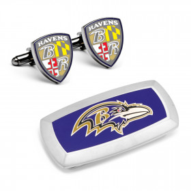 Baltimore Ravens Shield Cufflinks and Cushion Money Clip Set