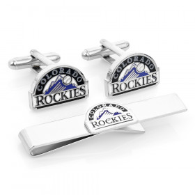 Colorado Rockies Cufflinks and Tie Bar Gift Set