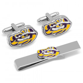 LSU Tiger's Eye Cufflinks and Tie Bar Gift Set