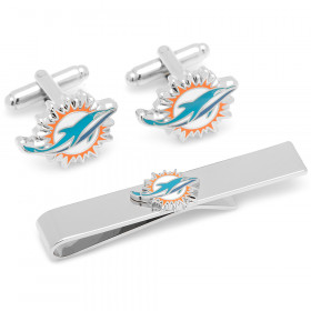 Miami Dolphins Cufflinks and Tie Bar Gift Set
