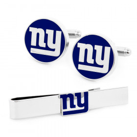 New York Giants Cufflinks and Tie Bar Gift Set