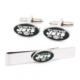 New York Jets Cufflinks and Tie Bar Gift Set