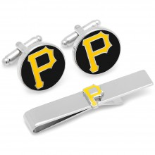 Pittsburgh Pirates Cufflinks and Tie Bar Gift Set