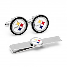 Pittsburgh Steelers Cufflinks and Tie Bar Gift Set