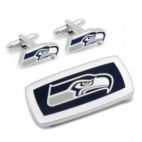 Seattle Seahawks Cufflinks and Cushion Money Clip Gift Set