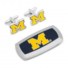 Michigan Wolverines Cufflinks and Cushion Money Clip Set