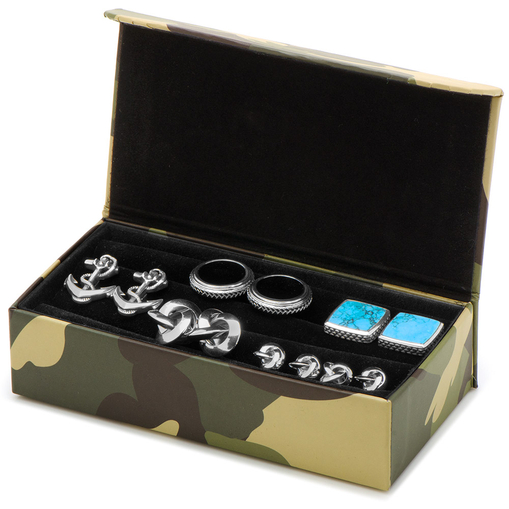 Camouflage Multi Pair Cufflinks Travel Case