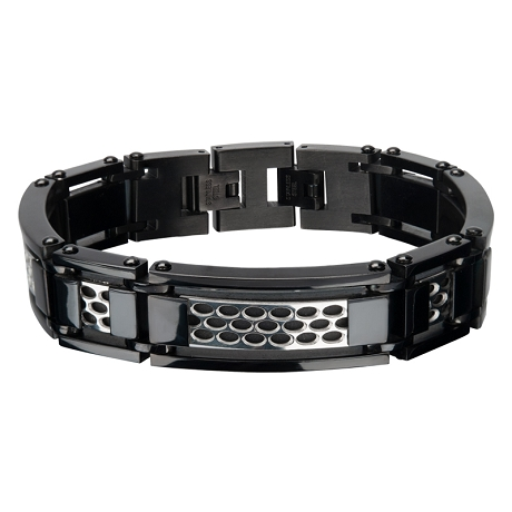Men's Stainless Steel Car Grille Black IP Polish Finished Bracelet