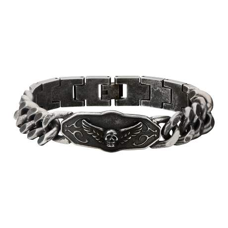 Men's Stainless Steel Black Oxidized Skull Wings ID Curb Chain Link Bracelet