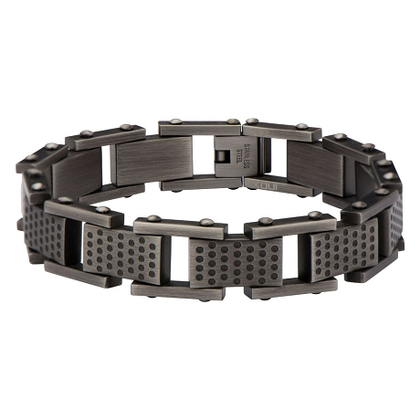 Men's stainless steel square multi-hole link bracelet | 8 Inch