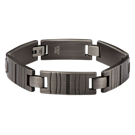 Men's Stainless Steel Gun Metal Finish Link Bracelet with Modern Gem Lines