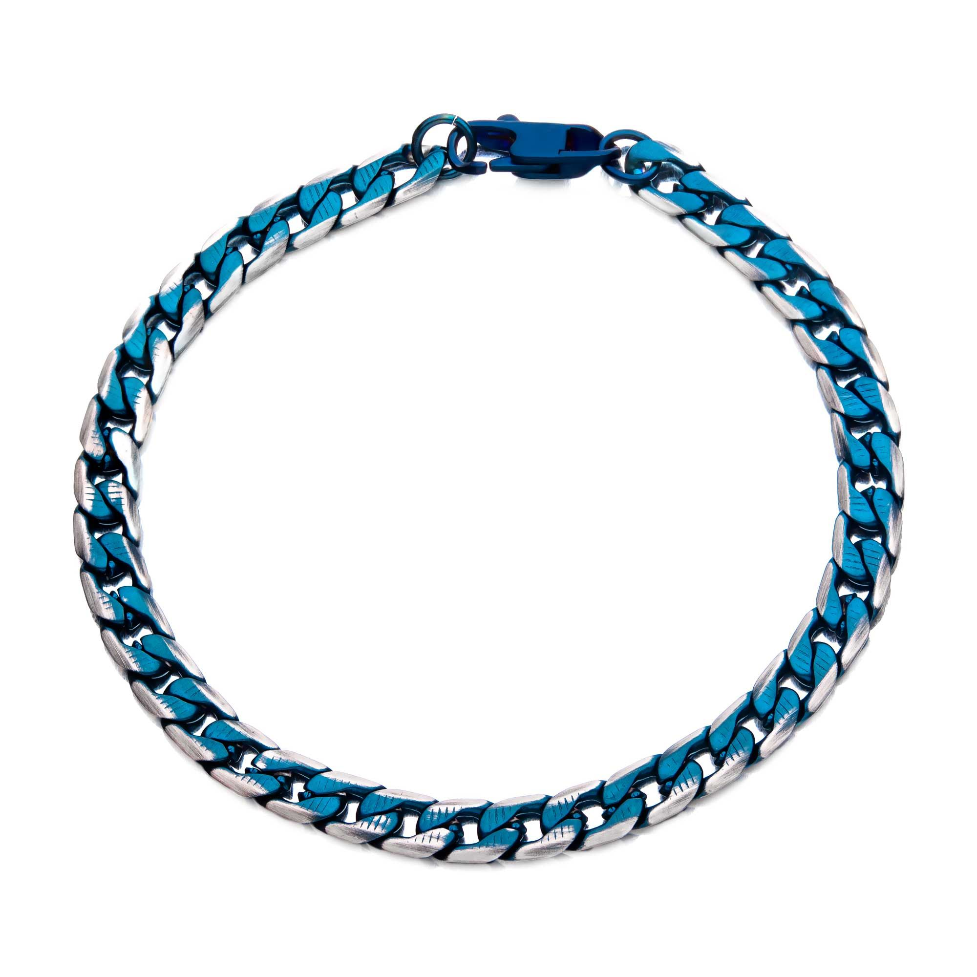 Stainless Steel Blue Plated Curb Cuban Bracelet with Lobster Clasp