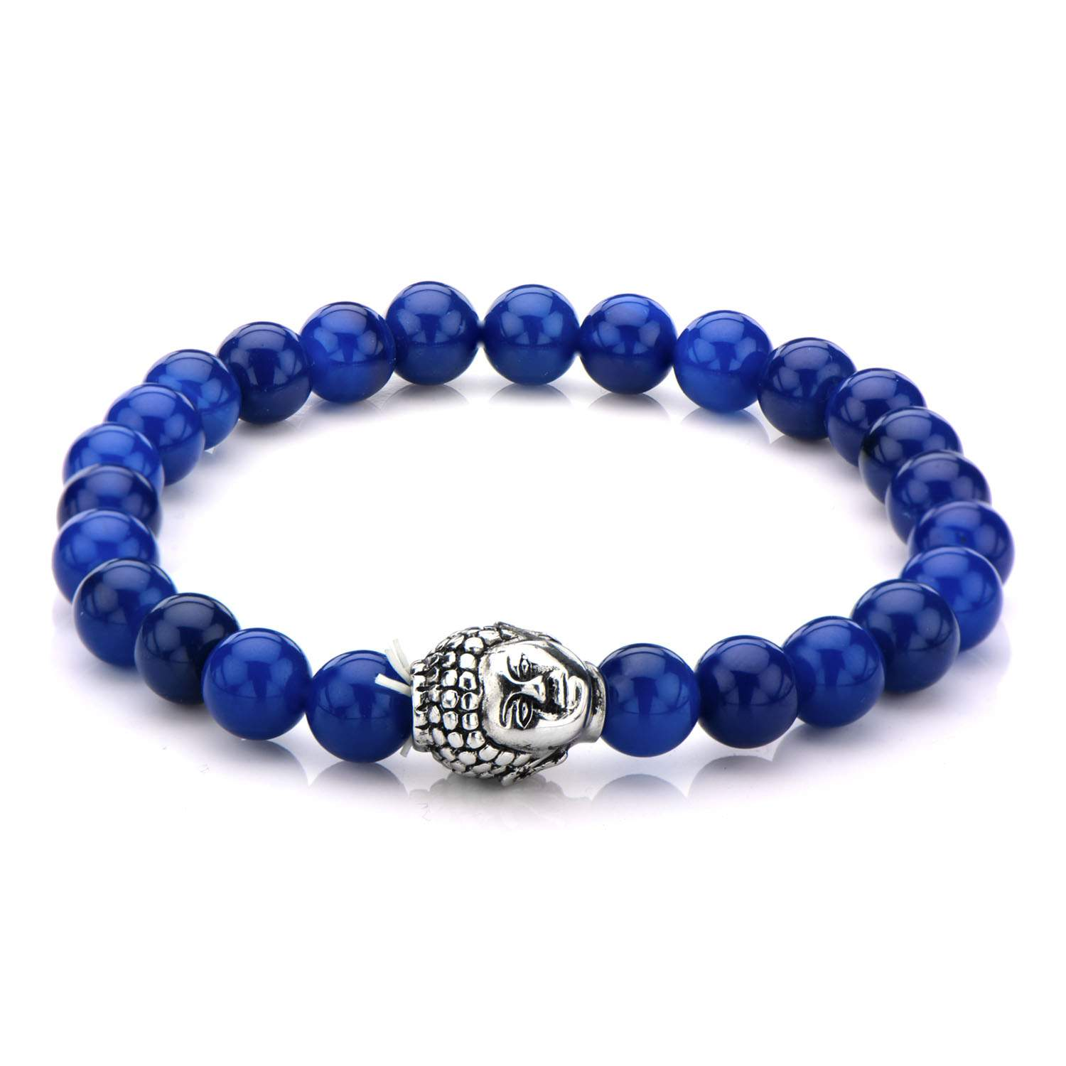8mm Black Lapis Beads Bracelet with Stainless Steel Buddha Head Charm