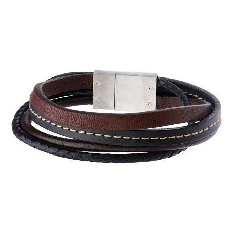 Men's Brown and Black Leather in Brown Thread Layered Bracelet with Steel Clasp