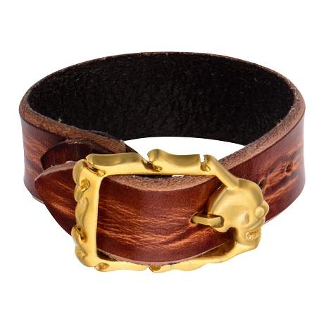 Brown Distressed Leather Bracelet with Gold IP Matte Finished Skull Clasp