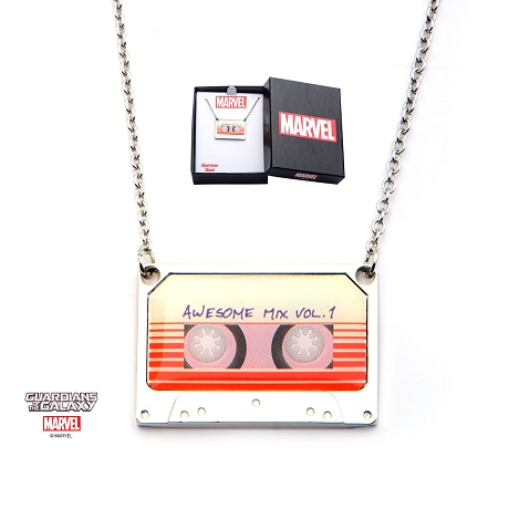 Stainless Steel Marvel Guardians of the Galaxy Awesome Mix Vol. 1 Tape Pendant with Chain