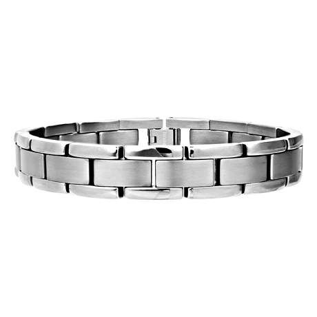 Men's Titanium Bracelet with Matte and Polished Links