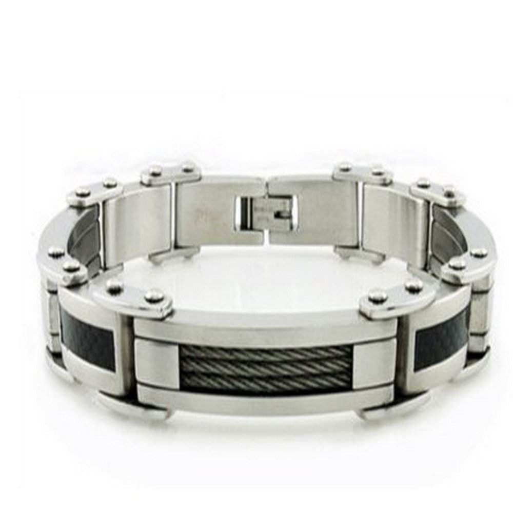 Men's Stainless Steel Bracelet With Cable and Carbon Fiber Inlay