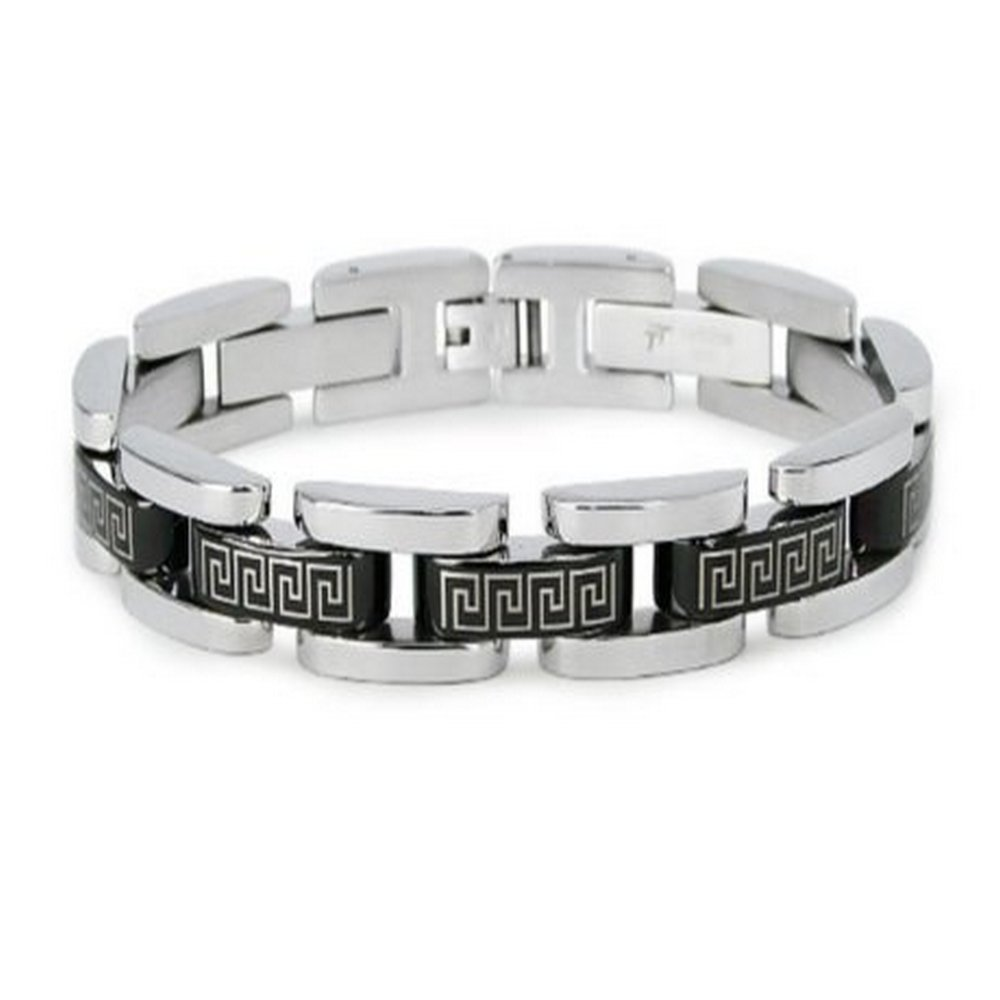 Men's stainless steel bracelet in Greek design| 11mm width