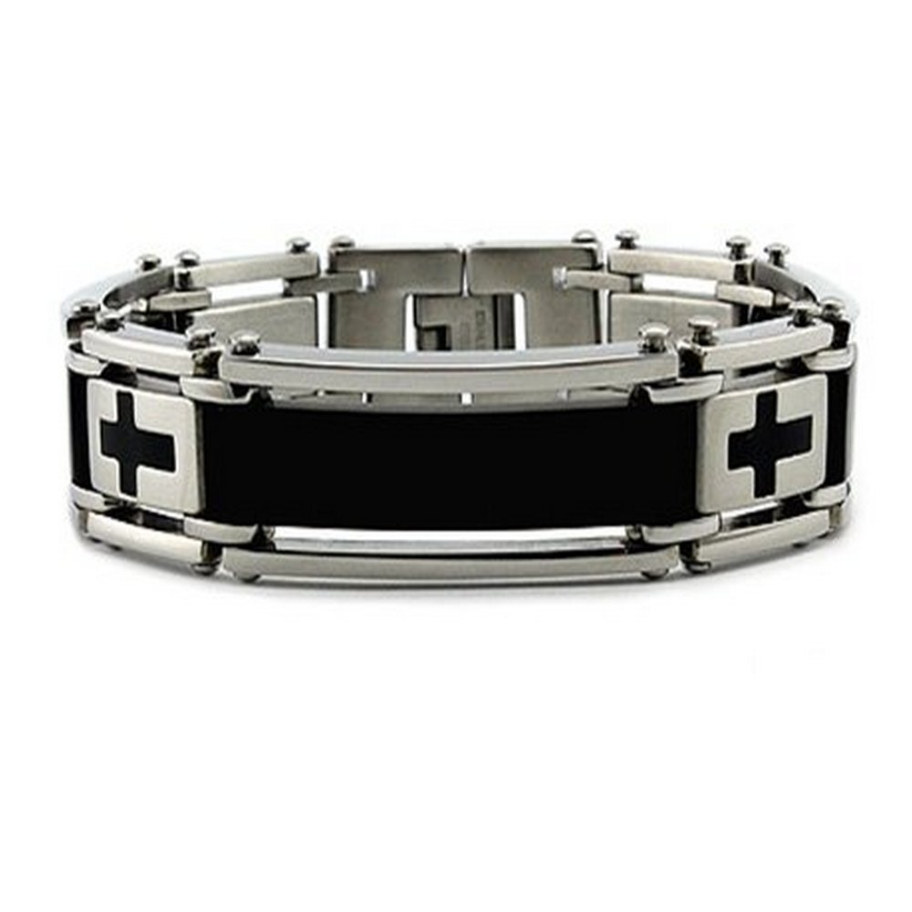 Men's stainless steel bracelet in Cross design| 14mm width