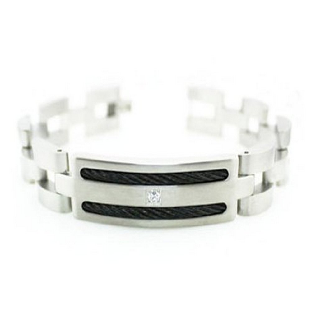 Men's stainless steel bracelet with black steel cable| 15mm width
