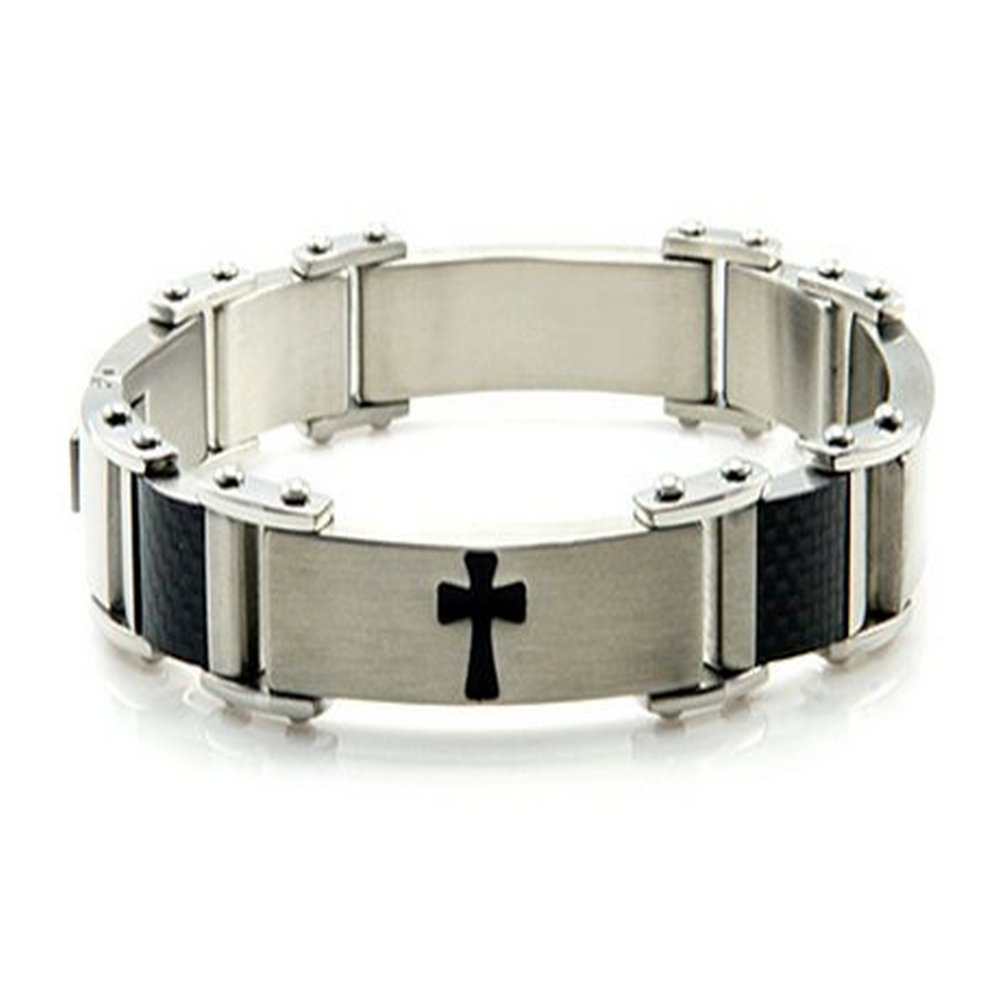 Men's Cross stainless steel bracelet | 14mm width