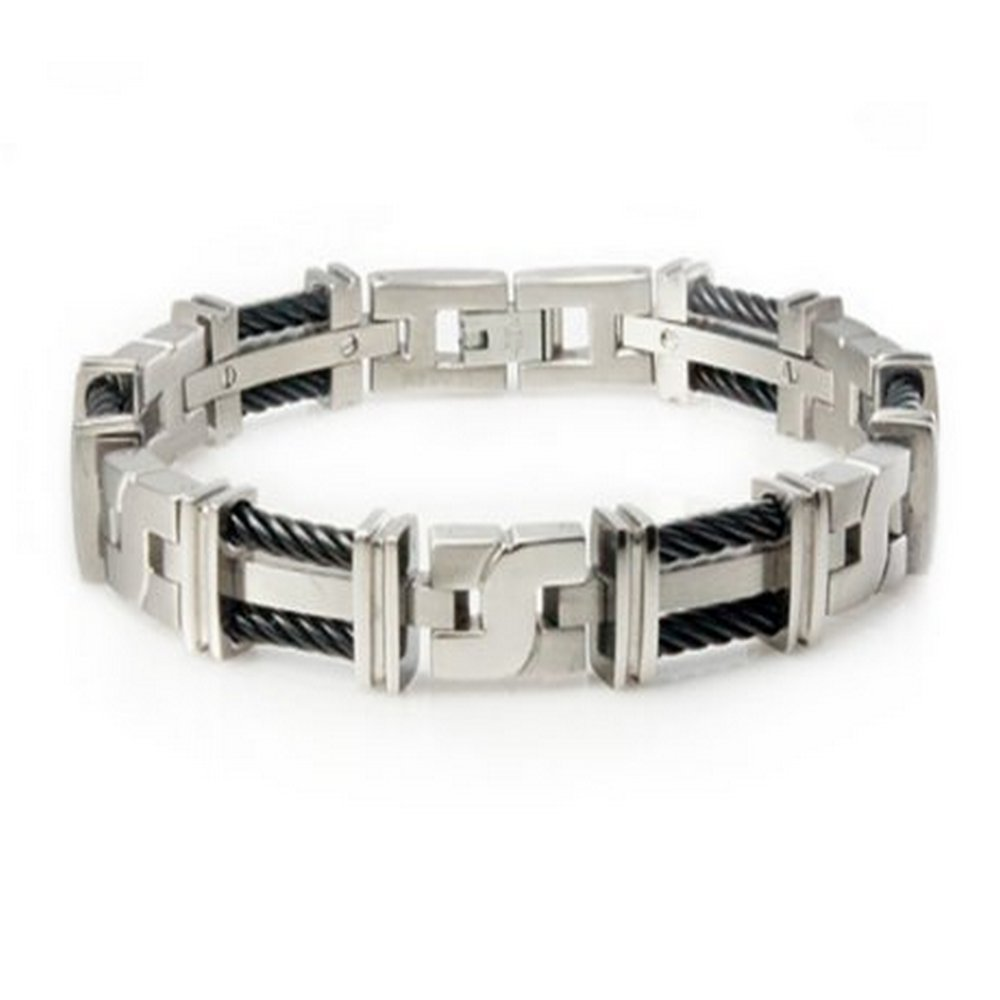 Men's titanium bracelet with cables | 12mm width