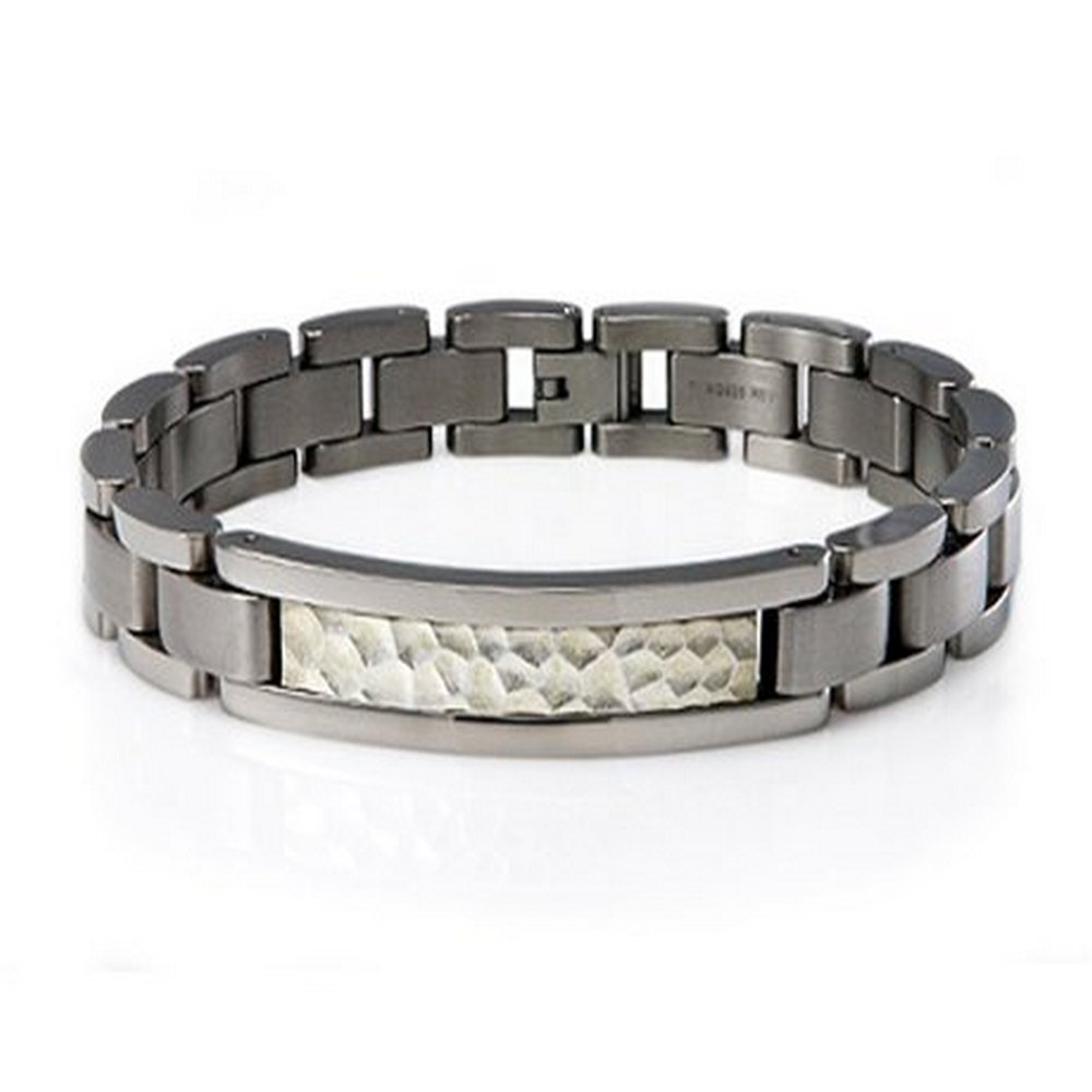 Men's titanium bracelet with hammer look | 12mm width